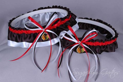 Chicago Blackhawks Wedding Garter Set (in Red on Black)
