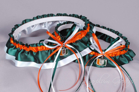 University of Miami Hurricanes Wedding Garter Set