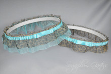Wedding Garter Set in Tiffany Blue & Leopard Print with Tailored Bows