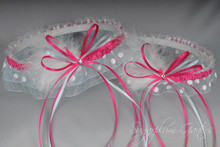 Wedding Garter Set in Hot Pink & White Polka Dot with Swarovski Crystals, Marabou Feathers and a Touch of Something Blue
