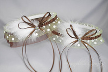 Wedding Garter Set in Chocolate Brown & Apple Green Polka Dot with Green Swarovski Crystals & Marabou Feathers