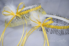 Wedding Garter Set in Yellow & Zebra Print with Swarovski Crystals & Marabou Feathers