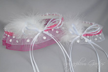 Wedding Garter Set in Rose & White Polka Dot with Swarovski Crystals & Marabou Feathers