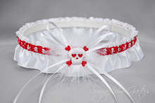 Wedding Garter Set in Red Pirate Print & White Satin with Marabou Feathers