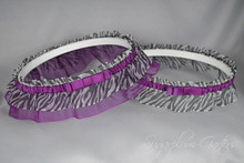Wedding Garter Set in Plum & Zebra Print with Tailored Bows