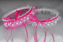 Wedding Garter Set in Hot Pink & White Polka Dot with Pearls