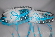 Wedding Garter Set in Turquoise & Black Polka Dot with Pearls & Marabou Feathers