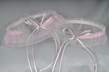 Wedding Garter Set in Pale Pink & Silver with Swarovski Crystals & Marabou Feathers