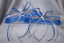 Wedding Garter Set in Royal Blue & Silver with Swarovski Crystals