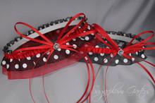 Wedding Garter Set in Red & Black Polka Dot with Swarovski Crystals