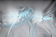 Something Blue Wedding Garter Set in Pale Blue & White Polka Dot with Swarovski Crystals & Marabou Feathers