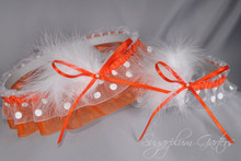 Wedding Garter Set in Orange & White Polka Dot with Pearls & Marabou Feathers