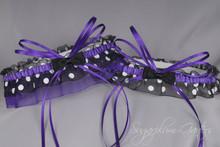 Wedding Garter Set in Purple & Black Polka Dot with Bow Ties