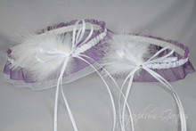 Wedding Garter Set in Aubergine & White with Swarovski Crystals & Marabou Feathers