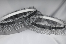 Wedding Garter Set in Zebra Print & Black with Tailored Bows