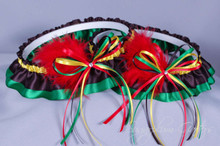 Rasta Wedding Garter Set with Swarovski Crystals & Marabou Feathers