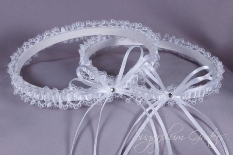 Wedding Garter Set in White Satin & Lace with Swarovski Crystals
