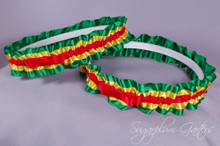 Rasta Wedding Garter Set with Tailored Bows