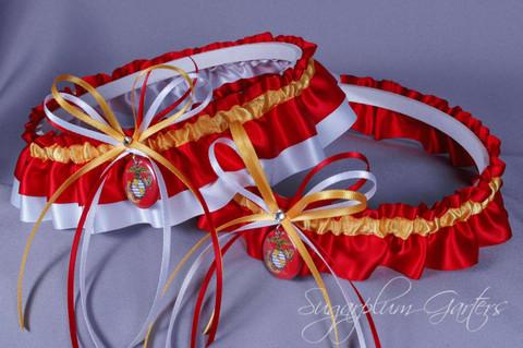 United States Marines Wedding Garter Set