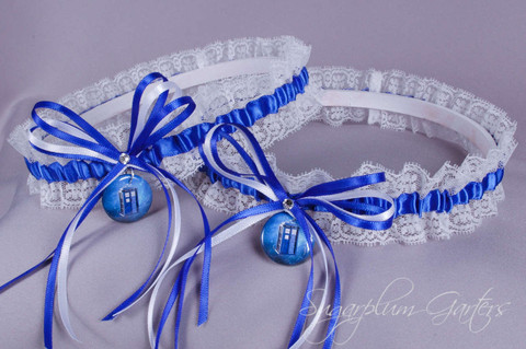 Doctor Who Tardis Lace Wedding Garter Set