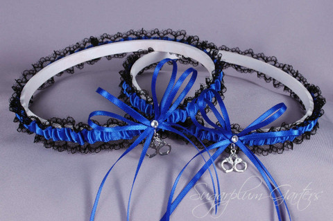Thin Blue Line Police Officer Lace Wedding Garter Set with Handcuff Charms