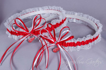 Detroit Red Wings Lace Wedding Garter Set