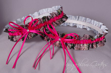Wedding Garter Set in Hot Pink & Realtree Camouflage Grosgrain with Swarovski Crystals