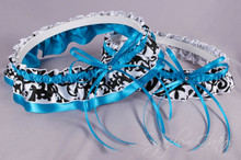 Wedding Garter Set in Turquoise & Damask Satin with Swarovski Crystals