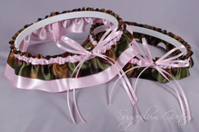 Wedding Garter Set in Pale Pink & Camouflage Satin with Swarovski Crystals