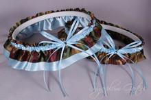 Something Blue Wedding Garter Set in Pale Blue & Camouflage Satin with Swarovski Crystals