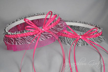 Wedding Garter Set in Hot Pink & Zebra Print with Swarovski Crystals