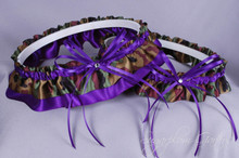 Wedding Garter Set in Purple & Camouflage Satin with Swarovski Crystals