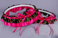 Wedding Garter Set in Hot Pink & Camouflage Satin with Swarovski Crystals