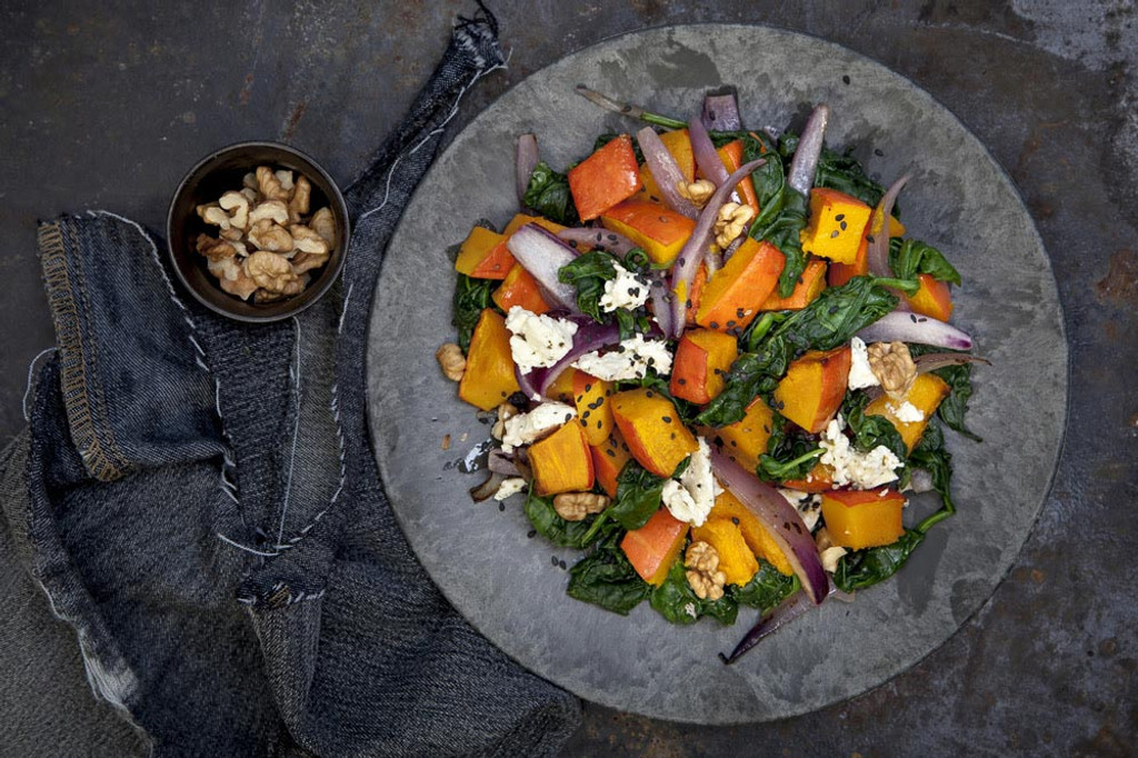Roasted Squash Salad with Leblanc Walnut Dressing
