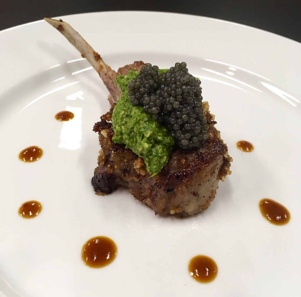 Caviar Star Recipe #20 - Rack of Lamb with Paddlefish Caviar and Arugula Pesto