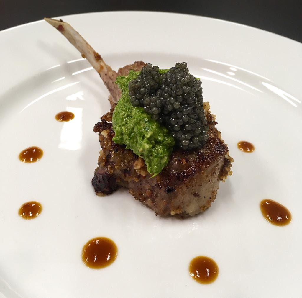 Caviar Star Recipe #20 - Rack of Lamb with Paddlefish Caviar and Arugula Pesto