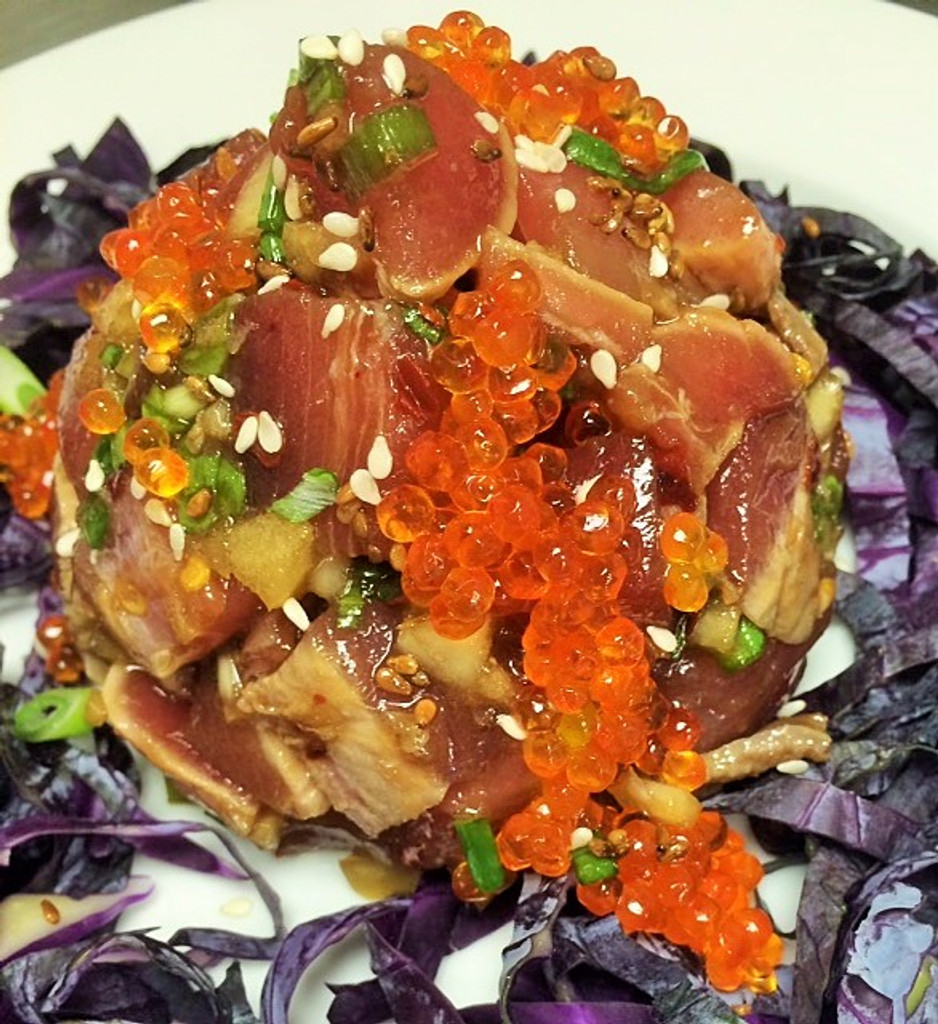 CAVIAR STAR RECIPE #15 - HAWAIIN POKE with SMOKED TROUT CAVIAR