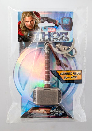 "Thor Hammer (Mjolnir) ""Leather""/Pewter Keyring"