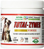 Total-Zymes® -  Most complete and effect pet digestive enzymes containing 16 enzymes for complete digestion. Supports: improved digestive health, allergies and skin problems, immune disorders, joint pain, and removes toxins from the body.  Contains: Protease 6.0, Protease 3.0, Protease 4.5, Peptidase, Amylase, Alpha-Galactosidase, Beta-Glucanase; Diastase, Lipase, Cellulase, Pectinase, Phytase, Hemicellulase, Bromelain, Lactase, Glucoamylase.  Also contains: Live Enzyme Activated Delivery System ® (L.E.A.D.S. ®) which helps to activate each individual enzyme for maximum particle digestion and complete nutrient distribution throughout the body.
