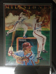 1981 Milestones Print signed by Mike Schmidt, Steve Carlton and Pete Rose Framed