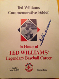 Ted Williams Autographed Commemorative Folder From Fenway Park 5/12/91