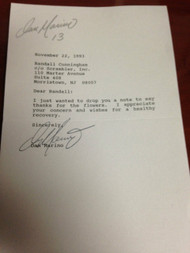 Dan Marino Autographed personal Letter to Randall Cunningham
