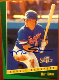 Matt Stairs Autographed 1993 Score Select #327