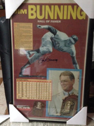 Jim Bunning Autographed Framed Philadelphia Inquirer Hall of Fame Newspaper Page