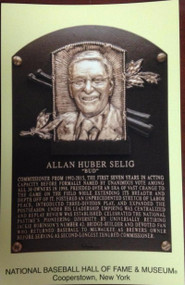 Bud Selig Stamped and Canceled Hall of Fame Gold Plaque Postcard