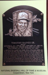 Tim Raines Stamped and Canceled Hall of Fame Gold Plaque Postcard
