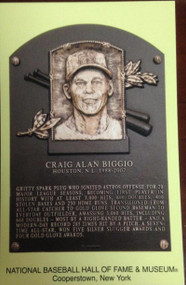 Craig Biggio Stamped and Canceled Hall of Fame Gold Plaque Postcard