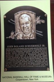 John Schuerholz Stamped and Canceled Hall of Fame Gold Plaque Postcard