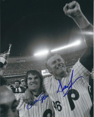 Pete Rose & Dallas Green 1980 World Series Autographed Phillies  8 x 10  Photo