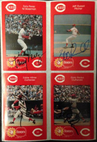 Tony Perez, Eddie Milner, Gary Redus, Jeff Russell Autographed 1984 Borden Stickers  Very Tough